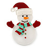 White/ Red Acrylic Crystal Christmas 'Snowman' Brooch - 55mm Length