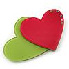 Lime Green/ Deep Pink Austrian Crystal Double Heart Acrylic Brooch - 70mm Across