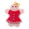 Baby Pink/ Magenta Austrian Crystal Acrylic 'Gingerbread Girl' Brooch - 50mm Length