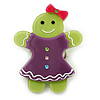 Lime Green/ Purple Austrian Crystal Acrylic 'Gingerbread Girl' Brooch - 50mm Length