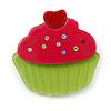 Magenta/ Lime Green Austrian Crystal Acrylic 'Cupcake' Pin Brooch - 40mm Across