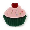 Dark Green/ Baby Pink Austrian Crystal Acrylic 'Cupcake' Pin Brooch - 40mm Across