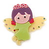 Lime Green/ Purple/ Yellow Austrian Crystal, Acrylic 'Little Angel' Brooch - 50mm Length