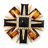 Victorian Style Black/ Amber Coloured Resin Stone Layered Cross Brooch In Gold Tone Metal - 75mm Across