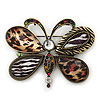 Large Animal Print Butterfly Brooch/ Pendant In Antique Gold Tone - 75mm Across