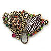 Oversized Animal Print, Multicolured Austrian Crystal Geometric Brooch/ Pendant In Antique Gold Tone - 90mm Across