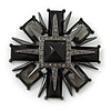 Victorian Style Black Resin Stone Layered Cross Brooch In Gun Metal - 75mm Across