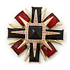 Victorian Style Black/ Red Resin Stone Layered Cross Brooch In Gold Tone Metal - 75mm Across