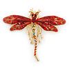 Red/ Burgundy Swarovski Crystal Dragonfly Brooch/ Pendant In Gold Tone Metal - 70mm Across