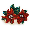 Christmas Red/ Green Swarovski Crystal Poinsettia Holiday Brooch In Gold Plating - 45mm Length