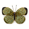 Green/ Olive Pave Set Swarovski Crystal Butterfly Brooch In Gold Tone - 45mm Across