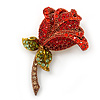 Red, Green Swarovski Crystal 'Rose' Brooch In Gold Tone - 55mm Length