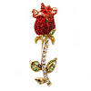 Small Red, Green Austrian Crystal 'Rose' Brooch In Gold Plating - 43mm L