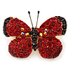 Tiny Red Swarovski Crystal Butterfly Brooch In Gold Plating - 25mm Across