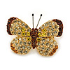 Tiny Clear, Orange, Brown, Lemon Yellow Pave Set Swarovski Crystal Butterfly Pin In Gold Tone - 25mm Across