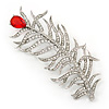 Large Exotic Clear Crystal, Red Cz 'Feather' Brooch In Rhodium Plating - 95mm Length