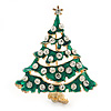 Vintage Inspired Holly Jolly Clear Crystal Christmas Tree Brooch In Gold Plating - 55mm Length