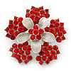 Bright Red Crystal Flower Brooch In Rhodium Plating - 45mm Diameter