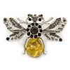 Art Deco Bumble-Bee Dim Grey Crytal Brooch In Silver Tone - 55mm Across