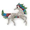 Rhodium Plated Enamel, Crystal Horse Brooch - 65mm Width