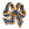 Vintage Inspired Sapphire Blue Crystal Bow Brooch In Antique Gold Metal - 50mm Length