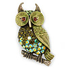 Olive Green, AB Swarovski Crystal Owl Brooch/ Pendant In Gold Plating - 40mm Length