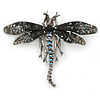 Black, Hematite, AB Crystal Dragonfly Brooch In Antique Silver Tone Metal - 70mm Across