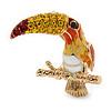 Small Austrian Crystal, Enamel Exotic Parrot Bird Brooch In Gold Plating - 23mm L