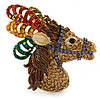 Multicoloured Austrian Crystal Circus Horse Head Brooch/ Pendant In Gold Tone - 70mm Across