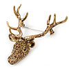 Large Topaz Coloured Austrian Crystal Stag Head Brooch In Antique Gold Tone - 70mm Length
