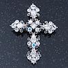 Victorian Clear, AB Austrian Crystal Cross Brooch/ Pendant In Silver Tone Metal - 58mm Length