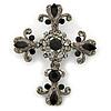Statement Black/ Hematite Austrian Crystal Filigree Cross Brooch/ Pendant In Gunmetal - 70mm Length