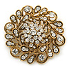 Vintage Inspired Clear Crystal Floral Corsage Brooch In Antique Gold Metal - 55mm Diameter