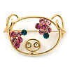 Gold Plated Pink Crystal Piggy Brooch - 40mm Length