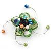 Handmade Green Shell, Beaded Wire Flower Brooch In Silver Tone - 45mm Diameter