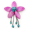 Handmade Fuchsia Shell Flower With Turquoise Bead Dangle Brooch - 95mm Length