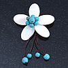 Handmade White Shell Flower With Turquoise Bead Dangle Brooch - 95mm Length
