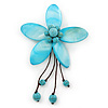 Handmade Light Blue Shell Flower With Turquoise Bead Dangle Brooch - 95mm Length