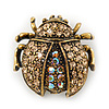 Small Topaz, AB Crystal 'Ladybug' Brooch In Gun Metal - 24mm Length