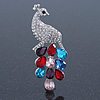 Silver Tone Austrian Crystal, CZ Peacock Brooch (Multicoloured) - 70mm Across