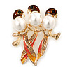3 Birds Crystal, Pearl, Enamel Brooch In Gold Tone - 45mm L
