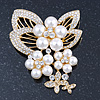 Bridal White Faux Pearl, Clear Austrian Crystal Floral Brooch In Gold Tone - 75mm L