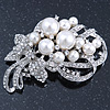 Bridal/ Wedding White Faux Pearl, Clear Crystal Floral Brooch In Silver Tone -  65mm L