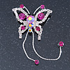 Fuchsia, Clear Crystal Butterfly With Dangling Tail Brooch In Silver Tone - 95mm L