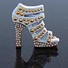 White Enamel, Crystal High Heel Shoe Brooch In Gold Tone - 35mm L