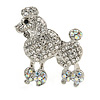 Rhodium Plated Clear Crystal Poodle Brooch - 37mm L