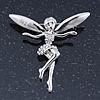 Silver Tone Clear Crystal 'Fairy' Brooch - 45mm L