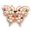 White Glass Pearl, Multicoloured Austrian Crystal Butterfly Brooch In Rose Gold Tone Metal - 58mm L