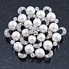 Bridal Glass Pearl, Clear Crystal Flower Brooch In Rhodium Plating - 45mm D