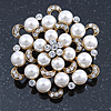 Bridal Glass Pearl, Clear Crystal Flower Brooch In Gold Plating - 45mm D